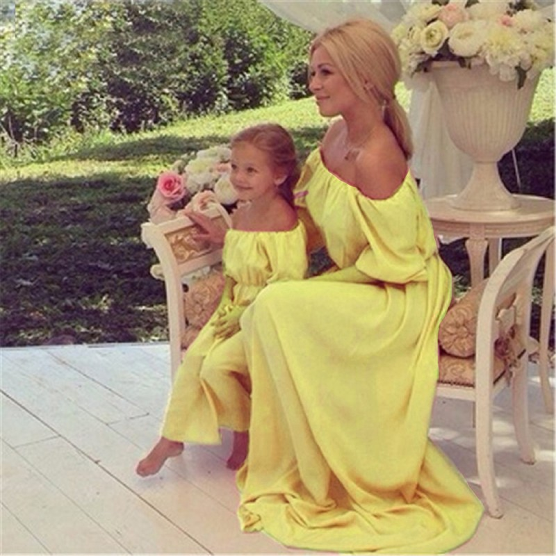 Mother Daughter Dresses Bohemia Maxi Dress Mom Matching Mother Daughter Clothes Beach Long Dress Strapless Family Look Clothes