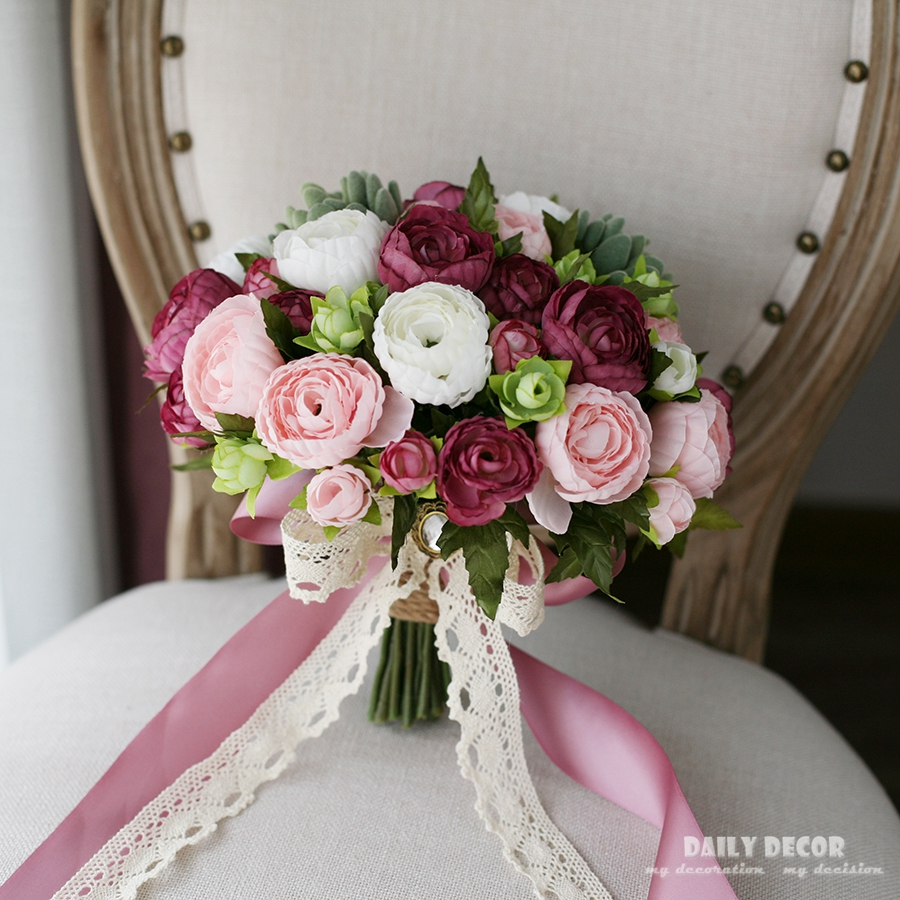 2018 nouveau hi-q artificielle rose pourpre thé rose soie fleur mariage bouquet de mariée demoiselle d'honneur tenant des fleurs bouquet de mariage
