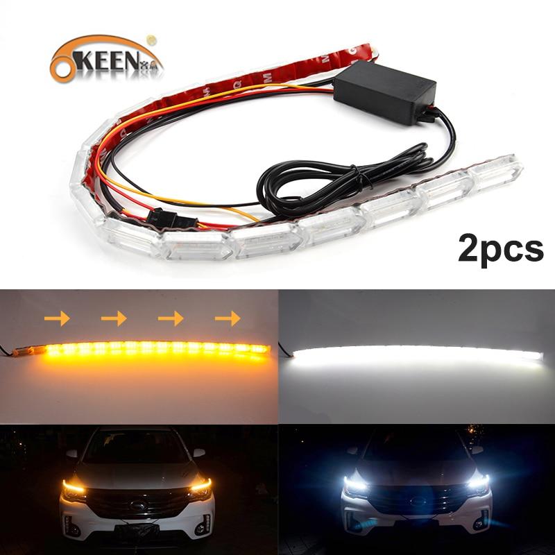 2x Car COB LED Driving Daytime Running Lights White DRL Amber Turn Signal Lamp