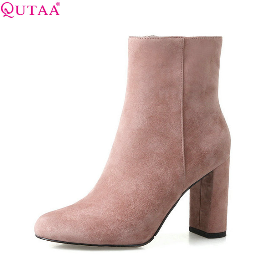 QUTAA 2018 New Women Ankle Boots Pointe Toe Zipper Women Shoes Square High Heel All Match Solid Pink Women Boots Size  34-39 jenni new pink solid ruffled chemise l $39 5 dbfl