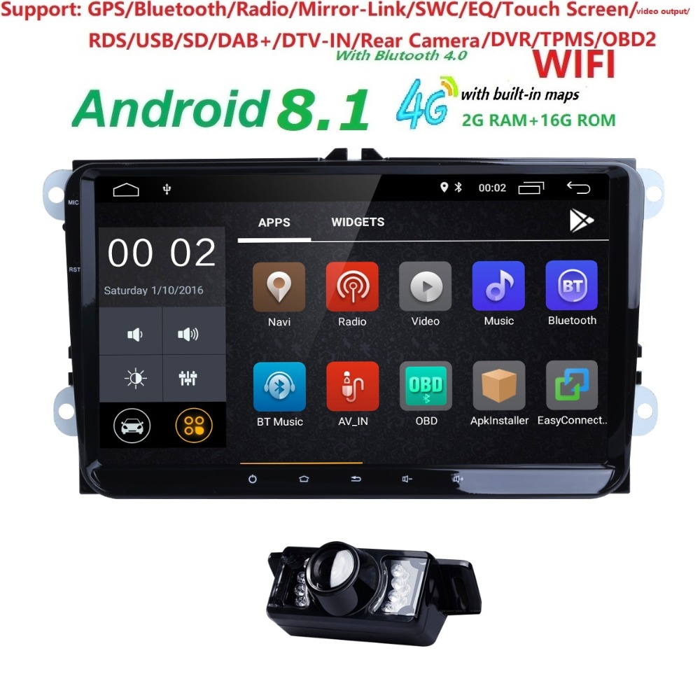 Hizpo Car Multimedia Player Android 8.1 2 Din Car Navi ForVW/Volkswagen/POLO/PASSAT/Golf/Skoda/Octavia/Seat/Leon GPS Radio Audio