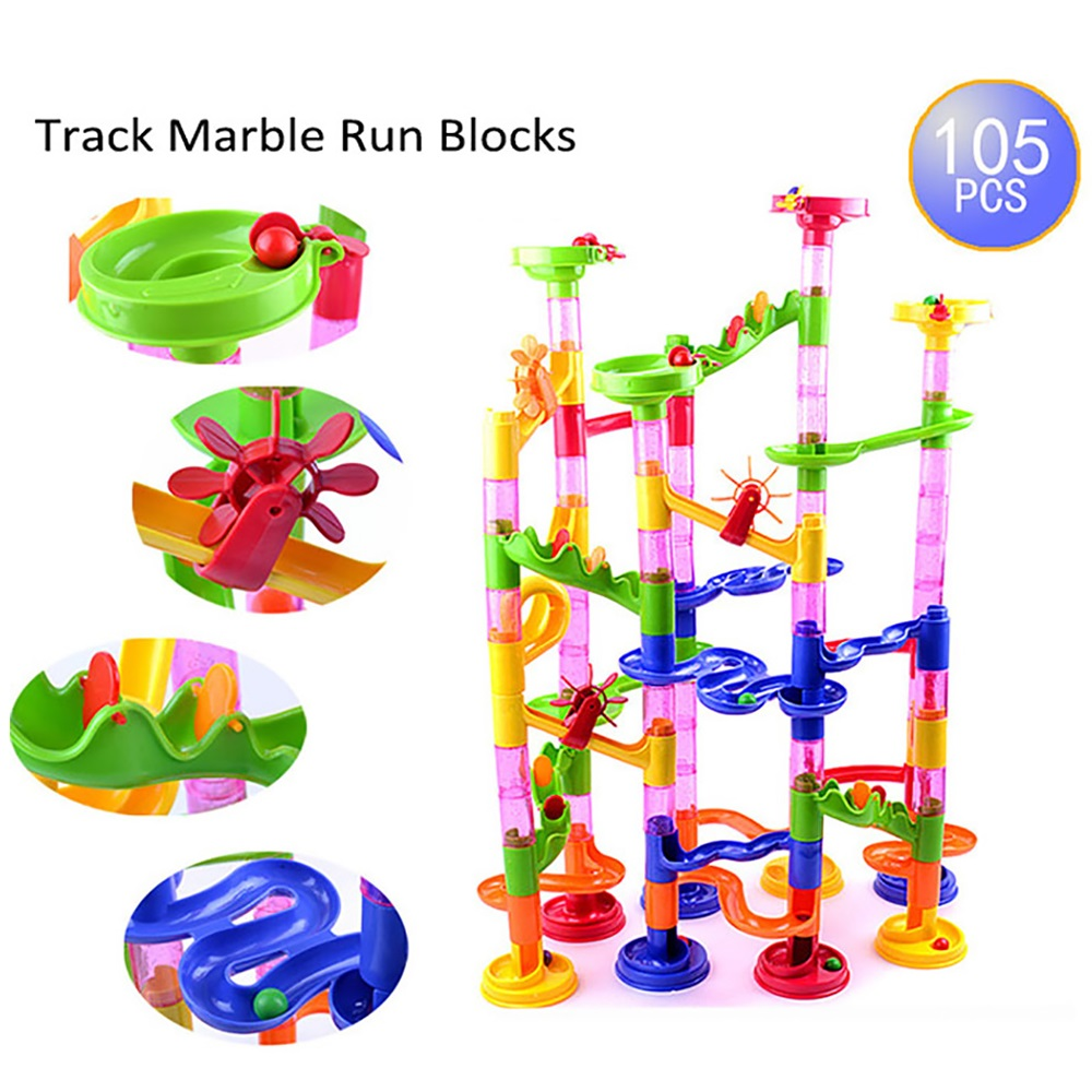 105 pcs/set Maze Balls Track Building Blocks Plastic DIY Construction Marble Race Run Children Gift Baby Kid's Toy Educational peaks run 105