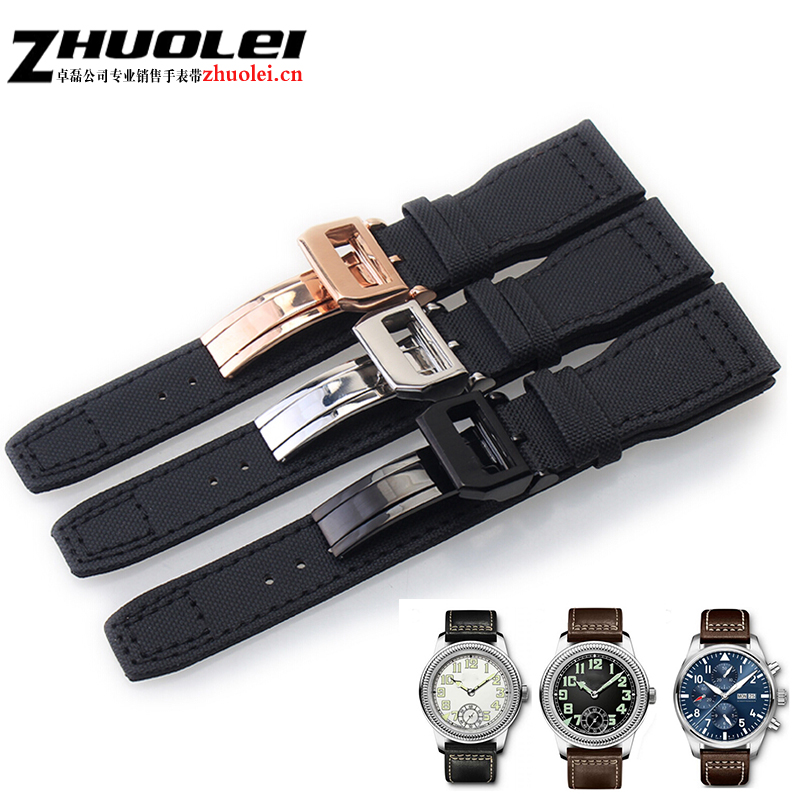 22mm*18mm buckle Black Nylon Canvas Watch Strap With deployment clasp, Retro Men's for iw watchband bracelet 2pcs pins+1pcs tool canvas nylon watchband tool for garmin fenix 5 forerunner 935 fr935 leather watch band sports strap steel buckle bracelet