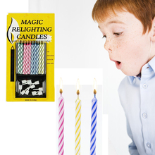1Bag(10pcs) Birthday Cake Party Not Blowing Out  Relighting Candle Magic Trick Prank Gag Joke Toys