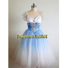 Yüksek kalite özelleştirilmiş mavi degrade renk yumuşak Giselle bale elbise kostüm gecelik, Coppelia bale elbiseler perakende toptan