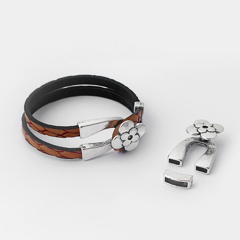 3Sets Antique Silver Flower Style Horseshoe Shaped Fit 5*2mm Flat Leather Bracelet Clasp Hook Findings ACC For Leather