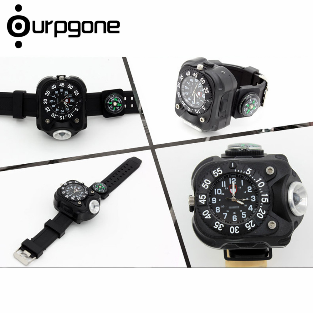 Ourpgone Dropshipping 1* Hiking Outdoor Tools Lamp Military LED Sport Wrist Watch Flashlight Compass Light Free shipping! novel design boys girls student time sport electronic digital lcd wrist watch free shipping jy14 dropshipping