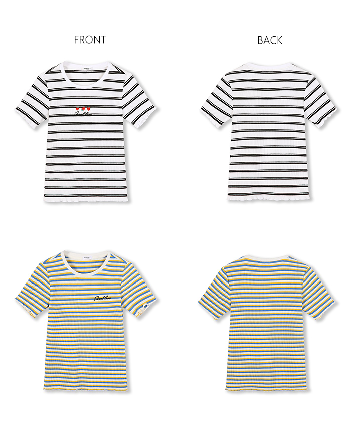 BalabalaChildren short sleeve t shirt girls big children 2019 new summer children wear stretch stripes bottoming tshirt