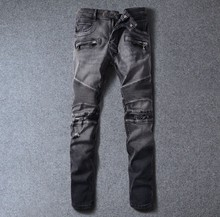 2016 new black hole drawing gray knee fold slim version of Europe type locomotive feet jeans