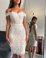 Off the Shoulder Short Cocktail Dresses 2019 Knee Length White Lace Appliques Semi Formal Dress Plus Size Party Dresses