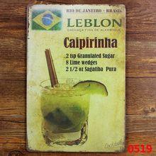 LEBLON brasil cartel de hojalata vintage Bar decoración de pared de hogar y bares Retro Metal ART Poster brasil vino