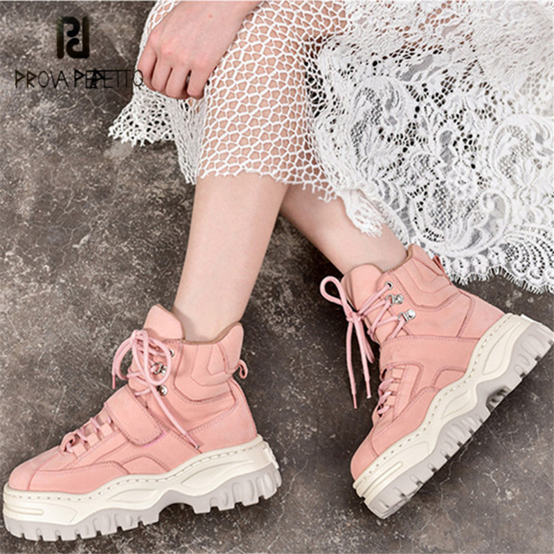 Prova Perfetto Cute Pink Women Ankle Boots Lace Up High Tops Platform Martin Boots Flat Shoes Woman Flats Short Booties Creepers prova perfetto yellow women mid calf boots fashion rivets studded riding boots lace up flat shoes woman platform botas militares