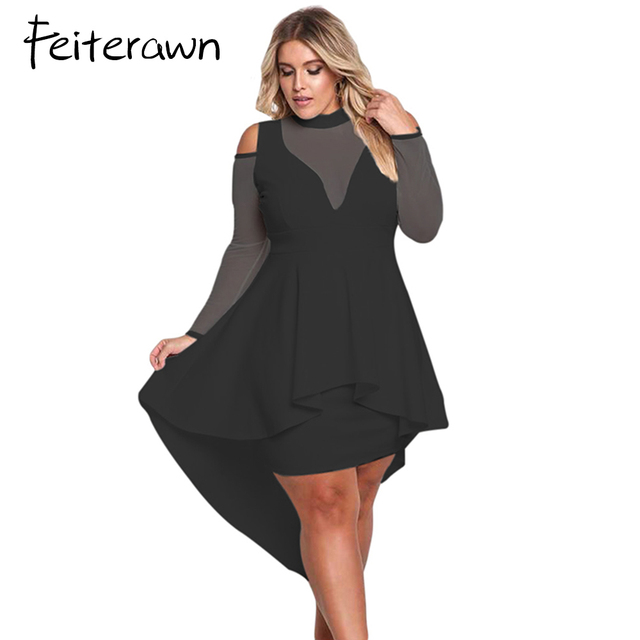 Feiterawn Plus Size Women Sexy Party Long Sleeve Cold Shoulder