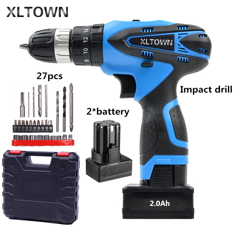 XLTOWN the new 25V 2000mA Impact Drill Rechargeable Lithium Battery Electric Screwdriver Cordless Electric Drill Power tools xltown 25v 2000ma impact drill with bits
