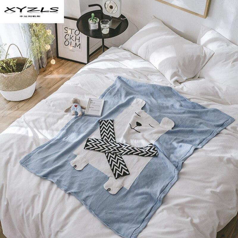 XYZLS 100% Cotton Kids Blanket Cute Cartoon Bear Design Thread Blanket for Bed Sofa 110x130cm Throw Blanket Children Gifts