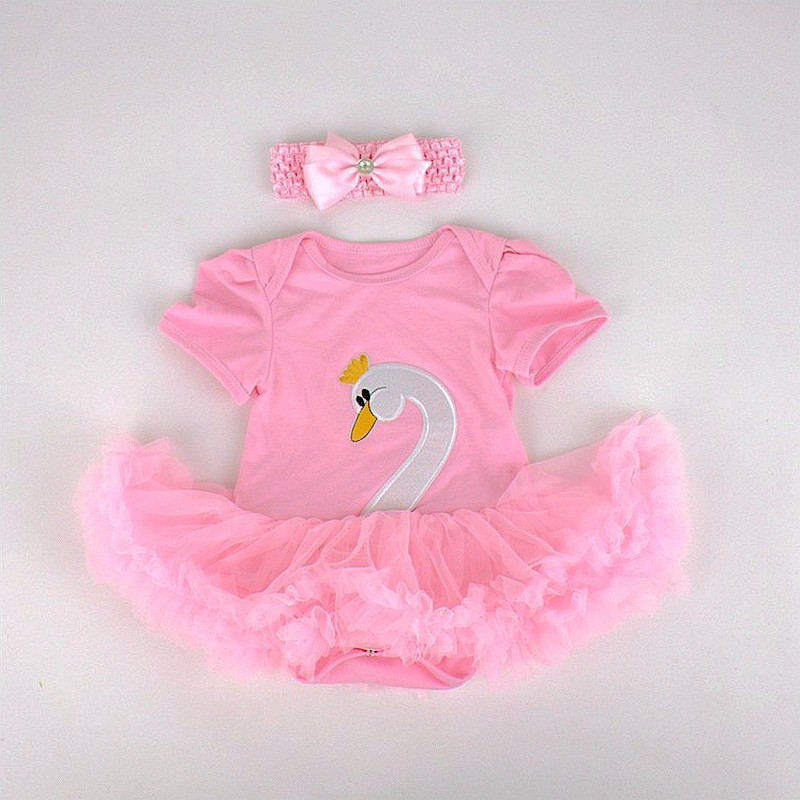 VD081-F-Swan Baby Girl Lace Romper Dress