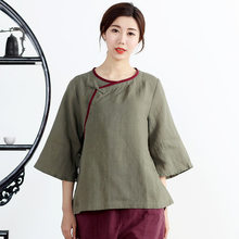efd030f695b Tang Suit Jacket Female Loose Cotton Plate Buttons Women s Republic China  Tea Service Chinese Style Retro Zen