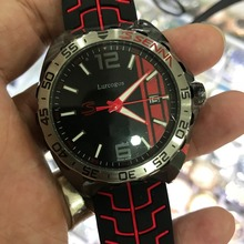 luxury mens black and red dial rubber strap watch automatic TAG sapphire glass with small dials works self winding AAA+