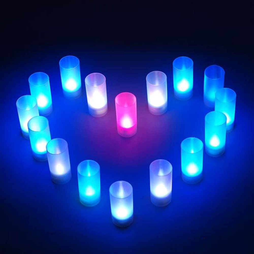 Novelty LED Electronic Color Change Flicker Candle Light Lamp For Children Bedroom Decoration Colorful Luminaria Holiday Gift