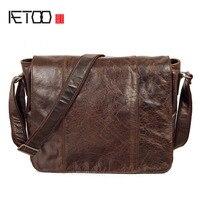 Aetoo bolso masculino de cuero genuino mensajero para hacer el viejo College School bag cartero retro cabeza grande bolsa capa de aceite cera Leat