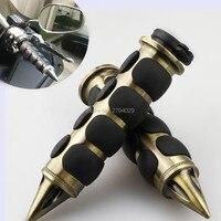 Free Shipping Spike Bronze Black Comfort Rubber Motorcycle Cruiser Bike Handlebar Hand Grips 1 For Kawasaki