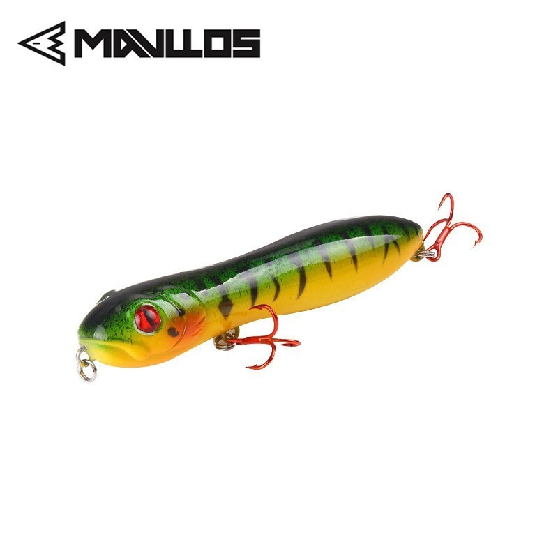 Mavllos Popper Pencil Fishing Bait 15g 100mm Snake Head Action Floating Top Water Freshwater Bait Fishing Lure 3D Simulation Eye in Fishing Lures from Sports Entertainment