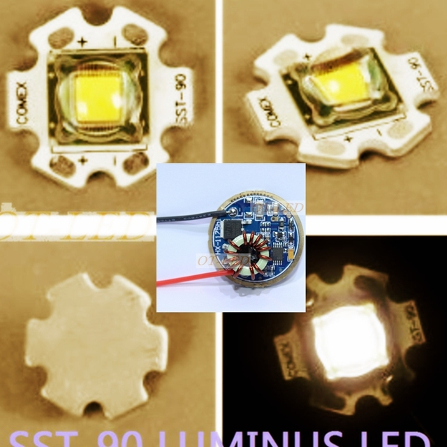 1PCS Luminus SST-90 30W LED Emitter 2250LM Warm White 3000K Module PCB 20mm Copper +SST-90 LED Driver Board