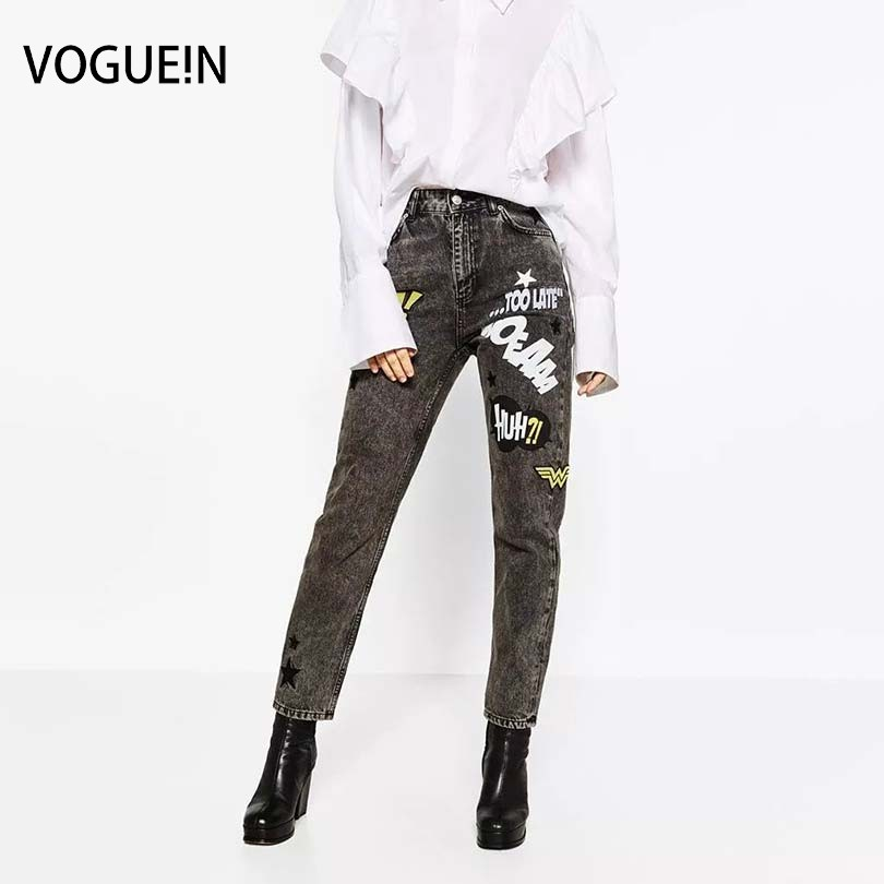 VOGUE!N New Womens Ladies Star Embroidery Pants Print Black Denim Pencial Trousers 4 Sizes michael kors new black womens 10 graphic print drawstring pants $89 163