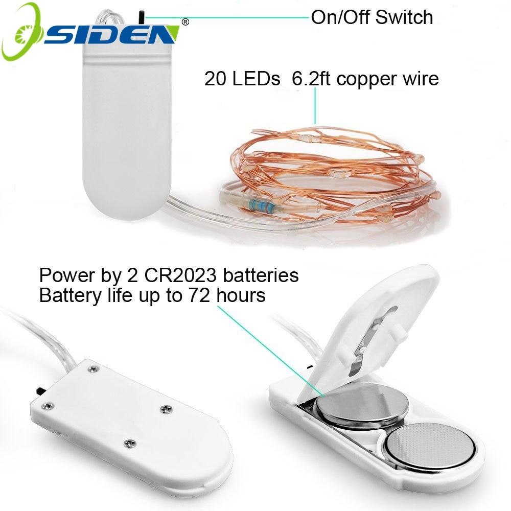OSIDEN svjetlo za žice za baterije 2m 20 LED zvjezdasto žice, - Rasvjeta za odmor - Foto 2