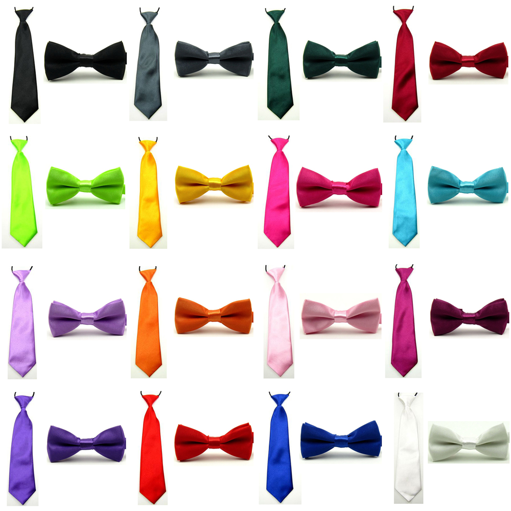 Baby Boy Kid Classic Satin Solid Color Bowtie Bow Tie Necktie Matching Set BWSET0008