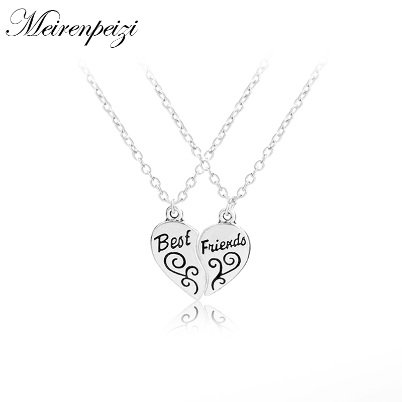 Hot Sale Best Friends Forever BFF Broken Heart 2 Parts Necklace ...