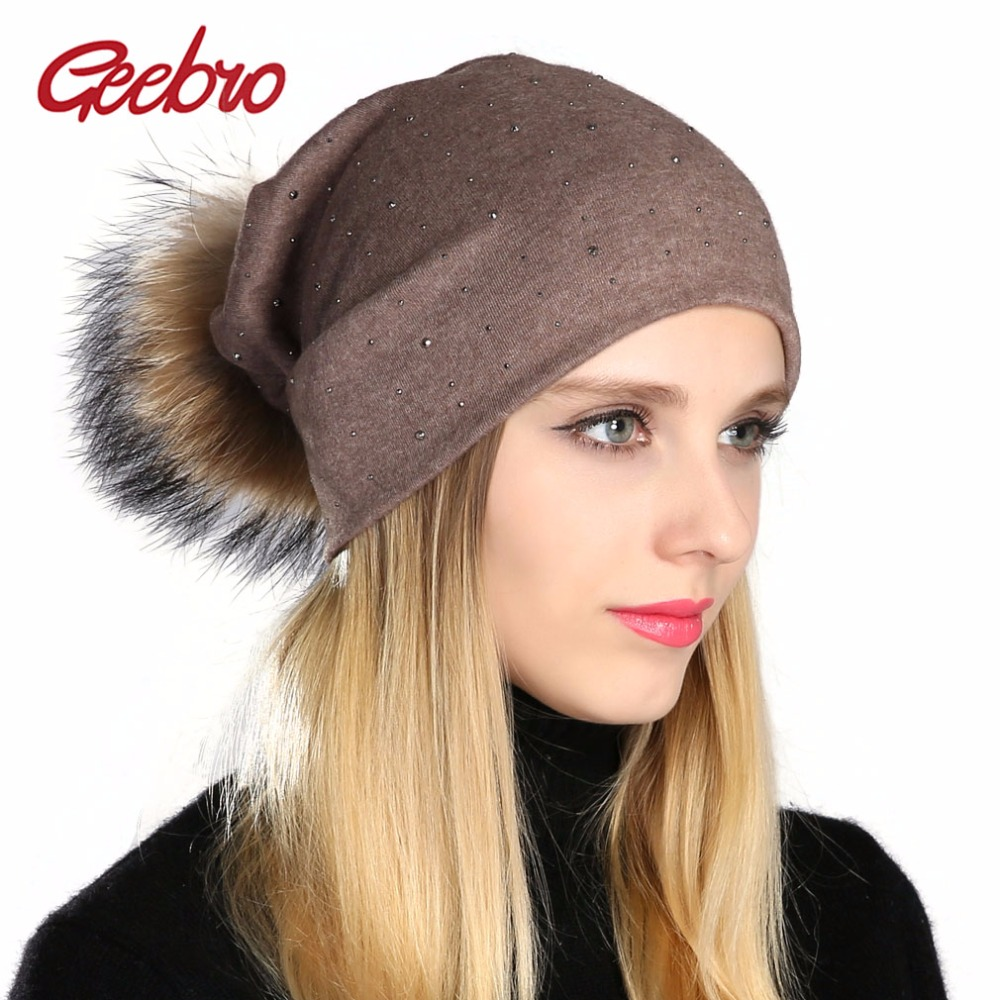 Geebro Women Beanie Hat Ladies Pompom Beanie Hat Women Shine Rhinestones Beanie Hat Female Causal Raccoon Fur Pom Pom Beanies