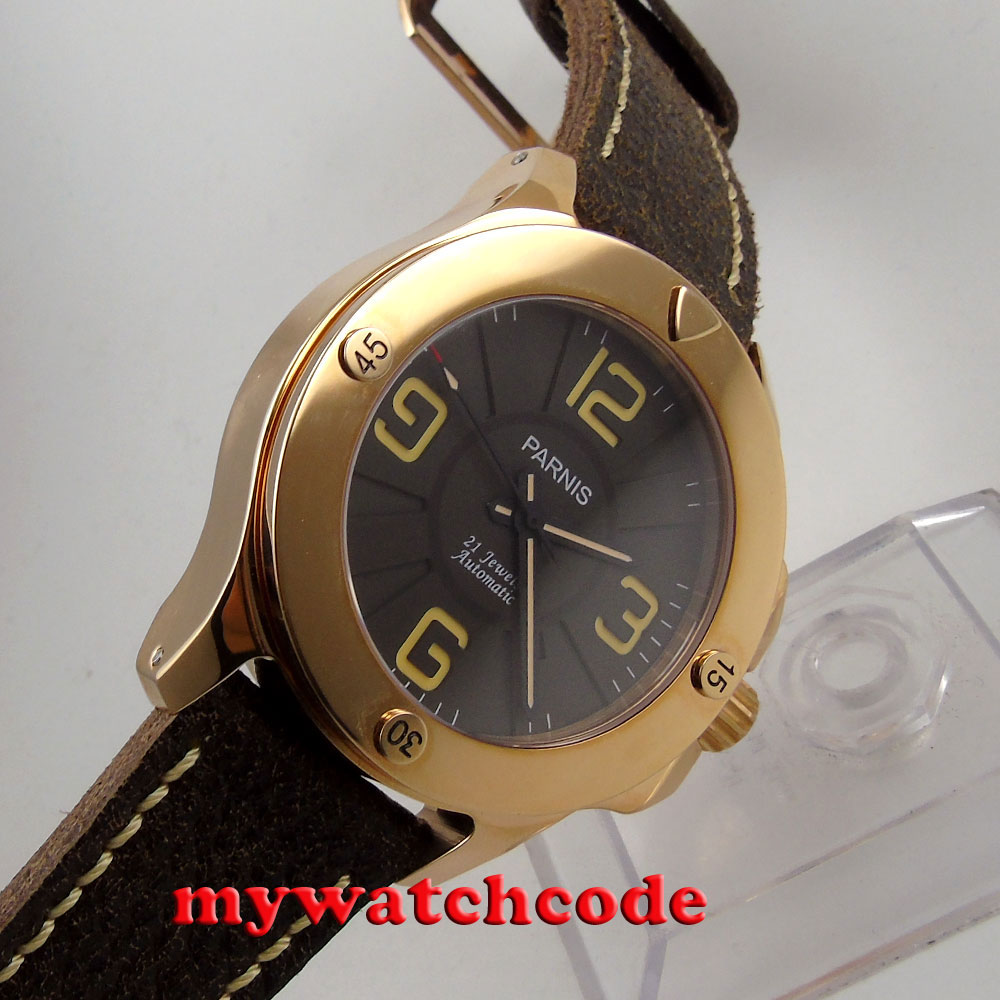 47mm Parnis black dial rose golden case Sapphire Glass leather starp Automatic mens Watch P619