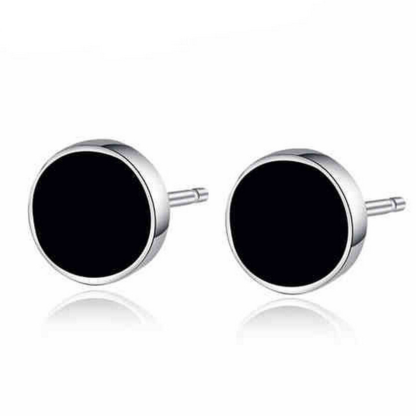 925 Sterling Silver Black Round Stud Earrings Stone Man Women Cool Jewelry Whole In From
