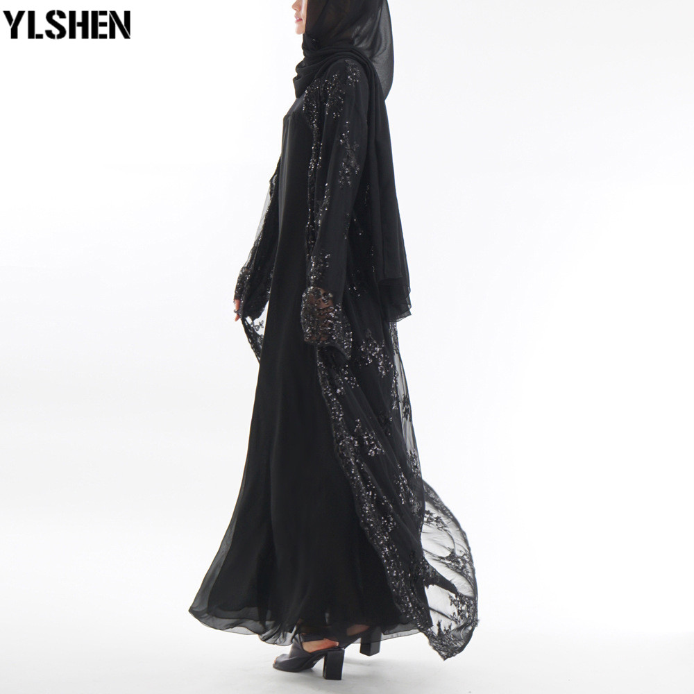 2019 Abaya Dubai Muslim Dress Luxury High Class Sequins Embroidery Lace Ramadan Kaftan Islam Kimono Women Turkish Eid Mubarak