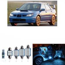 8 шт. автомобиля светодиодный подкладке Лампочки комплекты для 2002-2007 Subaru Impreza Географические карты Купол Магистральные Номерные знаки для мотоциклов лампа 12 В тюнинг автомобилей Белый Синий