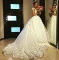 Великолепная Тюль Кружева Аппликации O Шеи Бальное платье Готический Свадебные Платья Для Беременных Женщин 2017 Vestidos De Novia Принцеса K714