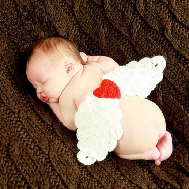 Newborn Tiny Girl Crochet Angel Wings Photography Props Outfits