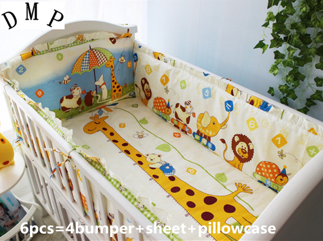 Promotion! 6PCS Crib Set Giraffe Bedding Sets Baby Cribs Animal Cot Bedding,include(bumpers+sheet+pillow Cover)
