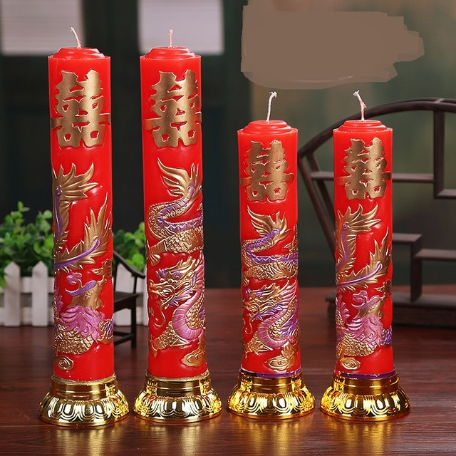 Chinese Traditional Weddings Candles Red Love Flameless Candles