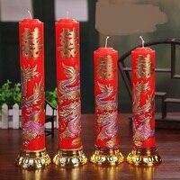 Trung quốc Truyền Thống Đám Cưới Đám Cưới Nến Tình Yêu Màu Đỏ Flameless Nến Rồng Phoenix Nến Liên Hoan Sinh Nhật Trang Trí Đám Cưới