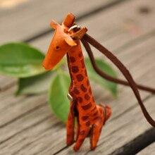Funky haciendo de la jirafa del encanto collar colgante de cuero genuino collar de cuero genuino de la vendimia del collar de la joyería para las mujeres NL-2186