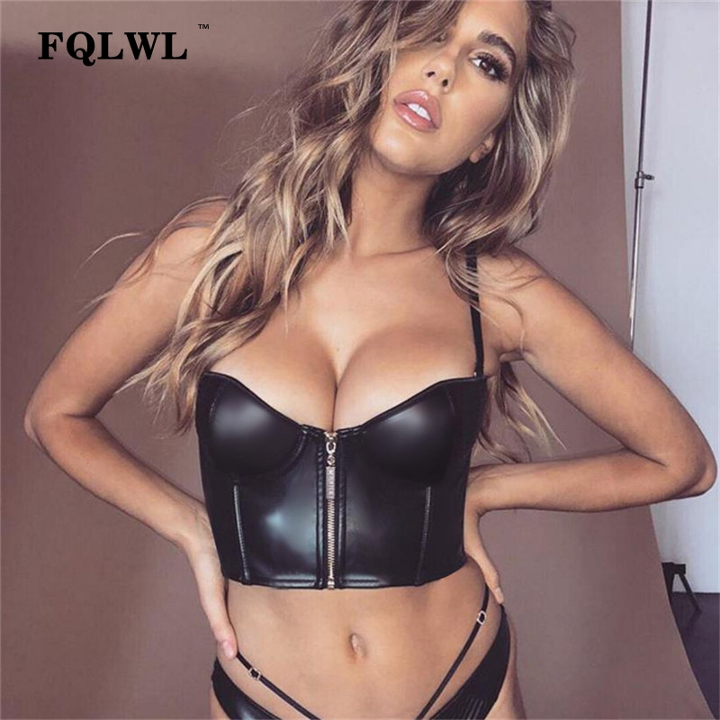 FQLWL Spaghetti Strap Black Pu Leather Crop   Top   Women Zipper Backless Bandage Sexy   Tank     Top   Female Cropped Bralette Bustier   Tops