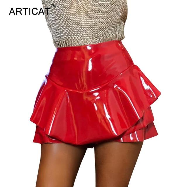 427ec0a22 Articat Ruffle Short Pleated Skirt Shorts Elegant High Waist Faux Leather  Skirt 2017 Autumn Vintage Red Skirts Womens Streetwear