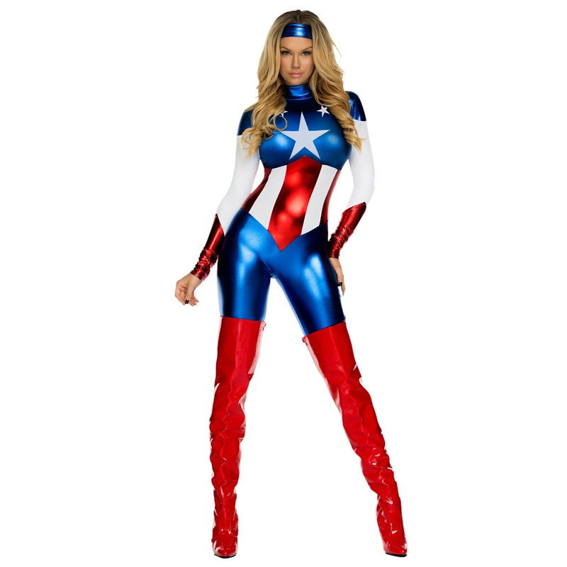 Shiny Patriotic Women/'s Marvel Universe Captain America Adult Metallic Leggings