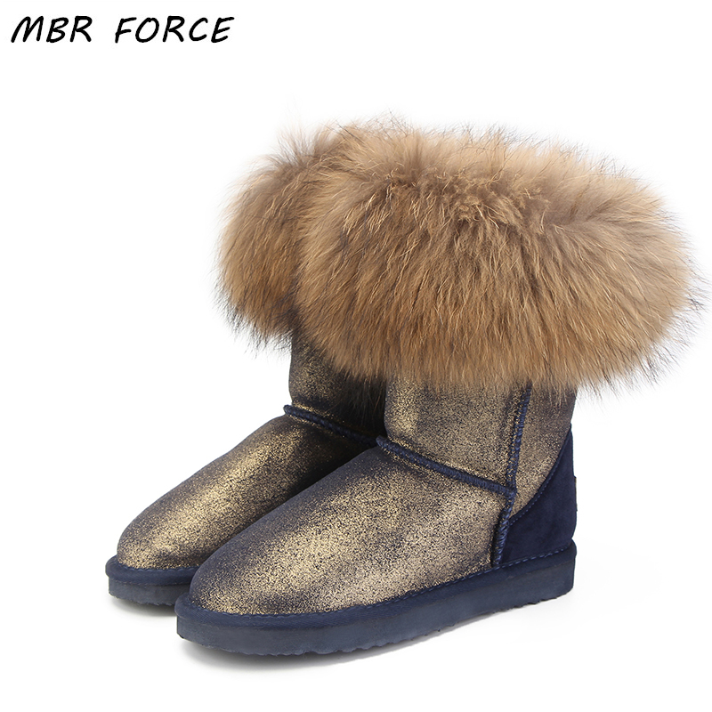 MBR FORCE 2018 Hot Sale Genuine Leather Women's Snow Boots 100% Natural fox Fur Boots Winter Hot Women's Boots Free Shipping free shipping hot sale 100