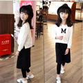 2017 the most fashionable girls girl print white sweater + black pants classic black and white two suit