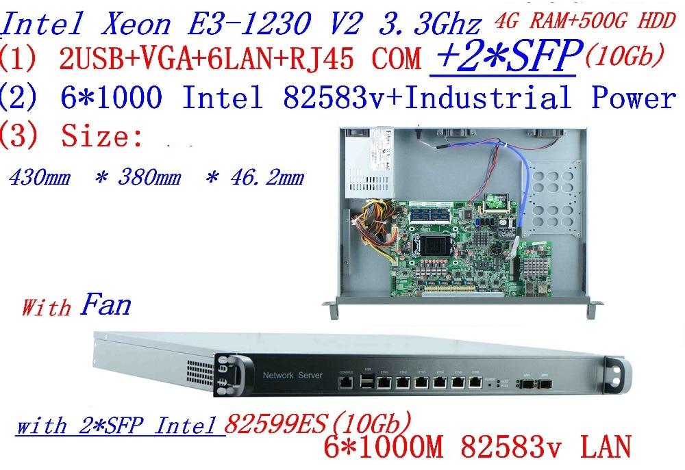Universal Access Routers 1U Firewall 4G RAM 500G HDD With 2* SFP 10Gb  6* 82583v Gigabit Lan Inte Quad Core Xeon E3 1230 V2 3.3G