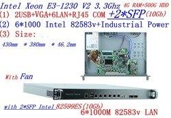 العالمي الموجهات وصول 1U جدار الحماية 4 جرام RAM 500 جرام HDD مع 2 * SFP 10 جيجابايت 6*82583 فولت جيجابت lan مبار رباعية النواة زيون E3-1230 V2 3.3 جرام