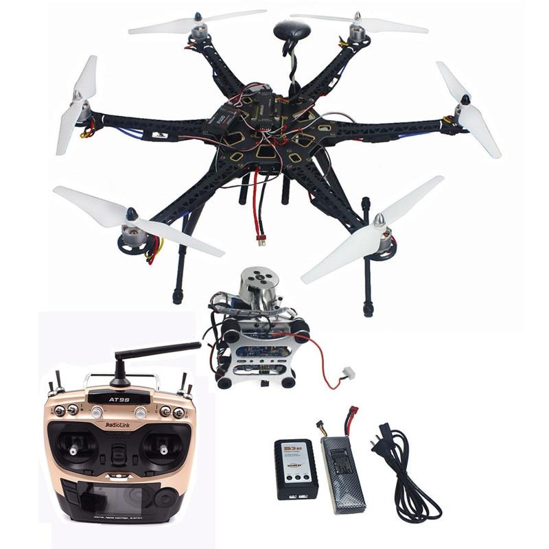 Tarot HMF S550 F550 Hexacopter Upgrade RTF Kit 920KV Brushless Motor APM 2.8 Flight Controller GPS Propellers Gimbal AT9S RC